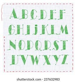 Embroidering alphabet, capital letter. Uppercase Vector illustration.