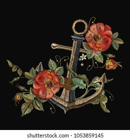 Embroidery anchor and red roses embroidery. Classical fashionable embroidery anchor, beautiful red roses template for clothes, textile t-shirt design