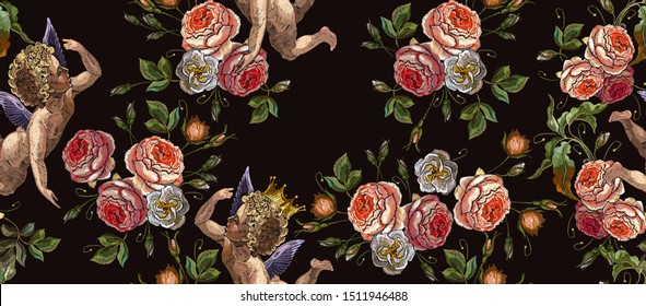 Embroidery angels and roses flowers seamless pattern.  Fashion love background. Cupids art, happy Valentines Day concept. Template for clothes, vector illustration