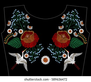 Embroidery asian crane with rose, spring flowers, chamomile for neckline. Vector fashion embroidered floral ornament, fancywork pattern for textile, fabric traditional folk decoration