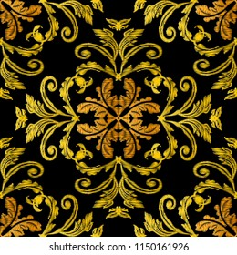 Embroidery baroque 3d vector seamless pattern. Ornate floral grunge background. Tapestry wallpaper. Arras damask flowers, scroll branches, leaves, hatching baroque ornaments. Embroidered gold texture
