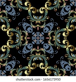 Embroidery Baroque vector seamless pattern. Colorful floral grunge background. Tapestry wallpaper. Carpet. Damask flowers, leaves. Textured baroque ornaments. Embroidered texture. Renaissance style.