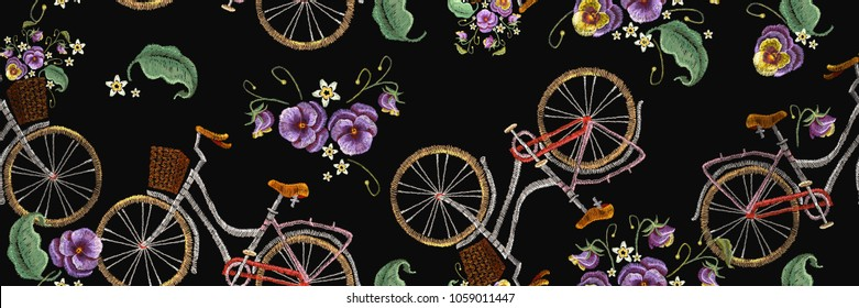 Embroidery bicycle with basket flowers seamless pattern. Fashionable embroidery bicycle art pattern. Spring art, template for romantic clothes, t-shirt design