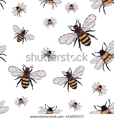 Embroidery Big Honey Bee Small Funny Stock Vector Royalty Free