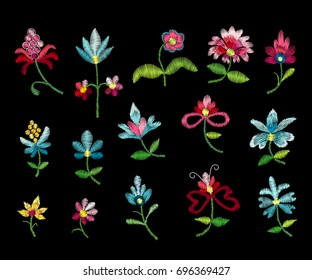 Embroidery big SET vector elements and details. Good for cloth, textile. Traditional folk fashion ornament on black background. Fantasy leaves, flowers.