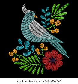 Embroidery Bird with flowers, Dove pattern. Vector fashion ornamental floral print on black background for fabric traditional folk decoration