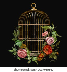 Embroidery birds cage and flowers vector. Classical embroidery golden cage, vintage buds of wild roses. Spring fashion art, template for design of clothes, t-shirt