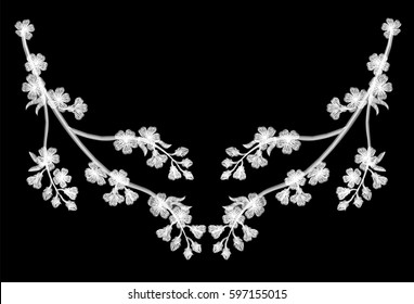 Embroidery blossoming cherry branches on a black background. white petals fall off. fashion clothing decoration. traditional pattern. vector illustration