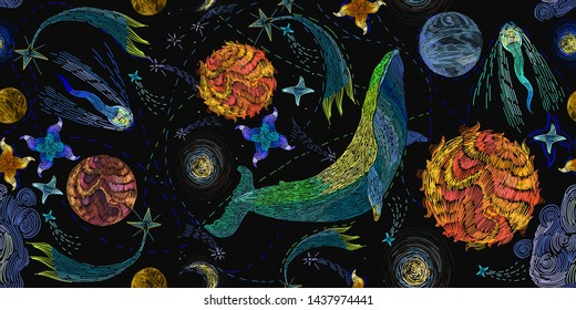 Embroidery, blue whales float in universe among stars. Symbol of imagination, dream, astrology. Modern fashion seamless pattern template for clothes, tapestry, t-shirt design. Space illustration
