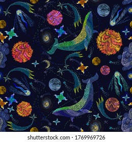 Embroidery, blue whales float in universe among stars. Symbol of imagination, dream, astrology. Modern fashion seamless pattern template for clothes, tapestry, t-shirt design