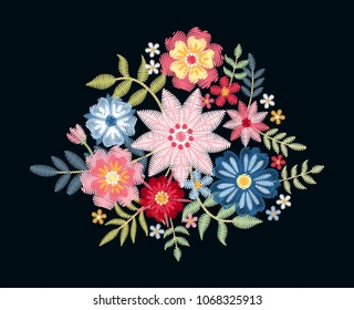 Embroidery. Bouquet with beautiful flowers and leaves. Colorful floral composition on black background.