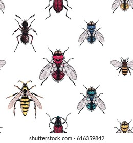 Embroidery brown bug, forest ant, yellow, red, blue and green flies, honey bee, wasp. Fashion patch with insects illustration. Seamless pattern backdrop. Trendy traditional art on white background.