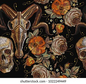 Embroidery bull and human skull, roses seamless pattern. Gothic romanntic embroidery bison buffalo skulls, human skull, red roses tribal pattern, clothes t-shirt. Dia de muertos, day of the dead