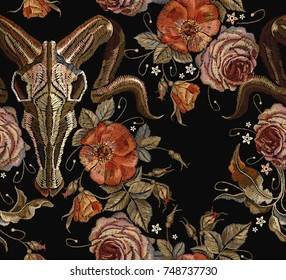 Embroidery bull skull and roses seamless pattern. Dia de muertos, day of the dead. Gothic romanntic embroidery bison buffalo skulls red roses and peonies tribal pattern, clothes t-shirt design