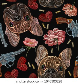 Embroidery bulldog, flowers and hearts, guns seamless pattern. Wild west embroidery roses, old revolvers, red hearts and french bulldog dog, gangster fashion background. Clothes t-shirt design