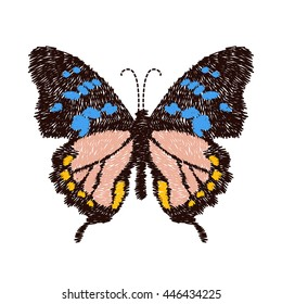 embroidery butterfly design for clothing. insect vector decoration. isolated