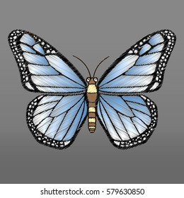 Embroidery butterfly design for clothing. Insects vector decoration.