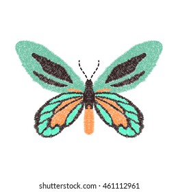 embroidery butterfly design for clothing. isolated insect vector decoration