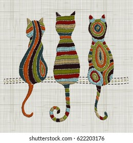 Embroidery cats.  Zentangle style. Vector Embroidery home decor, ornament for textile,  fashion, fabric pattern. Linen cloth texture.  Colorful tradition folk decoration.