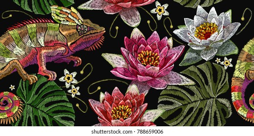 Embroidery chameleon and water lilies seamless pattern. Classical embroidery color chameleon, white and pink lilies pattern. Tropical template for clothes, textiles, t-shirt design