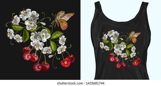 Embroidery cherry blossom tree and cherry fruit berry and butterfly. Trendy apparel design. Template for fashionable clothes, modern print for t-shirts, apparel art