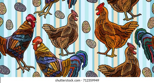 Embroidery chicken and rooster seamless pattern. Beautiful color rooster, eggs, and chicken, classical embroidery fashion template for clothes, textiles, t-shirt design