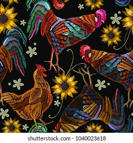 Embroidery chicken, rooster and sunflowers seamless pattern fashion template for clothes, textiles, t-shirt design. Beautiful rooster and chicken, classical embroidery seamless pattern