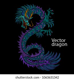 Embroidery of Chinese dragon. Classical embroidery asian blue dragon. Japanese dragon. Vector art with dragons for t-shirt designs. Clothes, textile design template, tattoo sketch