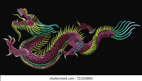 Embroidery chinese dragons. Art dragons t-shirt design. Clothes, textile design template