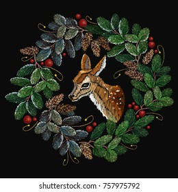 Embroidery christmas tree wreath and deer. Clothes, t-shirt design textile design template. Christmas wreath from fir tree branches, reindeer, vector art xmas festive background