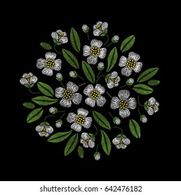 Embroidery circle floral pattern with jasmine on black background. Vector fashion ornament