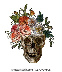 Embroidery clown skull and red roses. Dia de muertos, day of death art. Gothic romanntic embroidery clown human skulls red roses and pink peonies, clothes template and t-shirt design vector