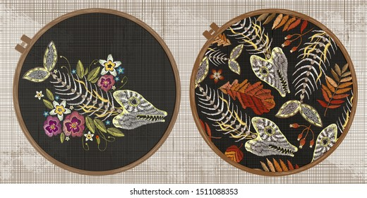 Embroidery collection. Fish bone and flowers. Gothic style. Halloween elements. Template tambour frame with a canvas, elements from stitches. Art for clothes