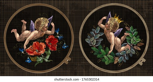 Embroidery collection. Little angel and roses flowers. Christmas cupid and wreath from fir tree branches. Template tambour frame with a canvas, elements from stitches. Art for clothes