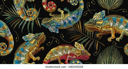 Embroidery color chameleons and palm leaves horizontal seamless pattern. Template for clothes, textiles, t-shirt design. Classical jungle lizards