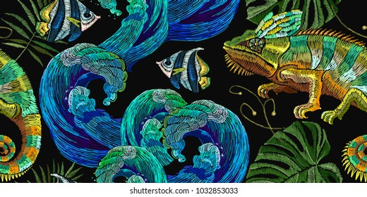Embroidery color chameleons and  sea life, sea shells, corals, tropical fishes seamless pattern. Classical embroidery lizard chameleons. Template for clothes, textiles, t-shirt design