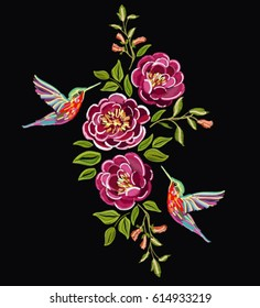 Embroidery colorful botanical pattern with roses and hummingbirds, exotic flowers. Vector traditional folk fashion ornament on black background.