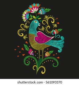 Embroidery colorful ethnic floral pattern for neckline. Vector traditional folk bird with flowers ornament on black background for fashion design