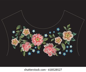 Embroidery colorful fashion ethnic neck line floral pattern with roses . Vector traditional folk flowers ornament on black background for clothing design
