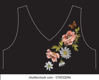 Embroidery colorful floral neck line pattern with poppy and daisy flowers. Vector asymmetrical traditional trend fashion ornament with chamomiles and butterfly on black. background.