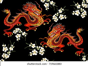 Embroidery colorful floral  pattern with Chinese, Japanese dragons.  Vector traditional folk fashion ornament on black background