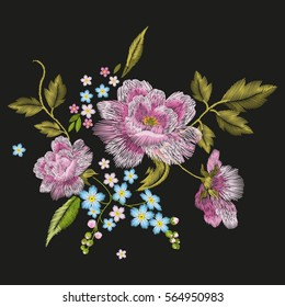 Embroidery colorful floral pattern with dog roses and forget me not flowers. Vector traditional folk fashion ornament on black background