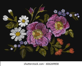 Embroidery colorful floral pattern with dog roses and forget me not flowers. Vector traditional folk fashion ornament on black background. illustration