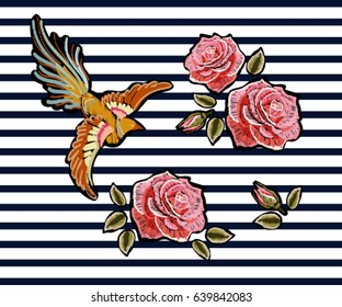 Embroidery colorful floral pattern with pink roses, japanese bird. Vector traditional folk fashion ornament on black background.