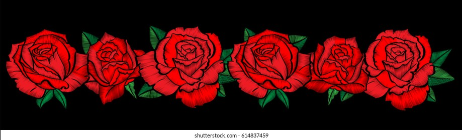Embroidery colorful floral pattern with red roses. Vector traditional folk fashion ornament on black background.