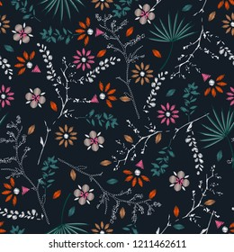 Embroidery colorful floral seamless pattern with liberty botanical leaves. Vector  flowers bouquet on navy blue  background for textile design
