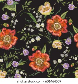 Embroidery colorful floral seamless pattern with poppies and lilies of the valley. Vector traditional folk flowers bouquet on black background for textile design