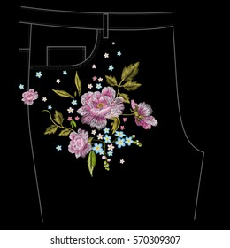 Embroidery colorful jeans floral pattern with roses and forget me not flowers. Vector traditional folk flowers ornament on black background.