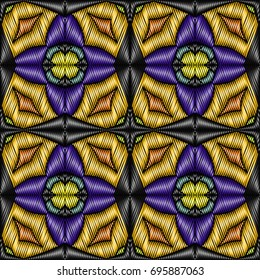 Embroidery colorful pattern with geometric ornament. Easily editable pattern.