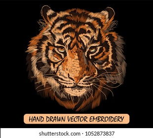 Embroidery colorful pattern with tiger. Traditional vector illustration for folk fashion on black background.
